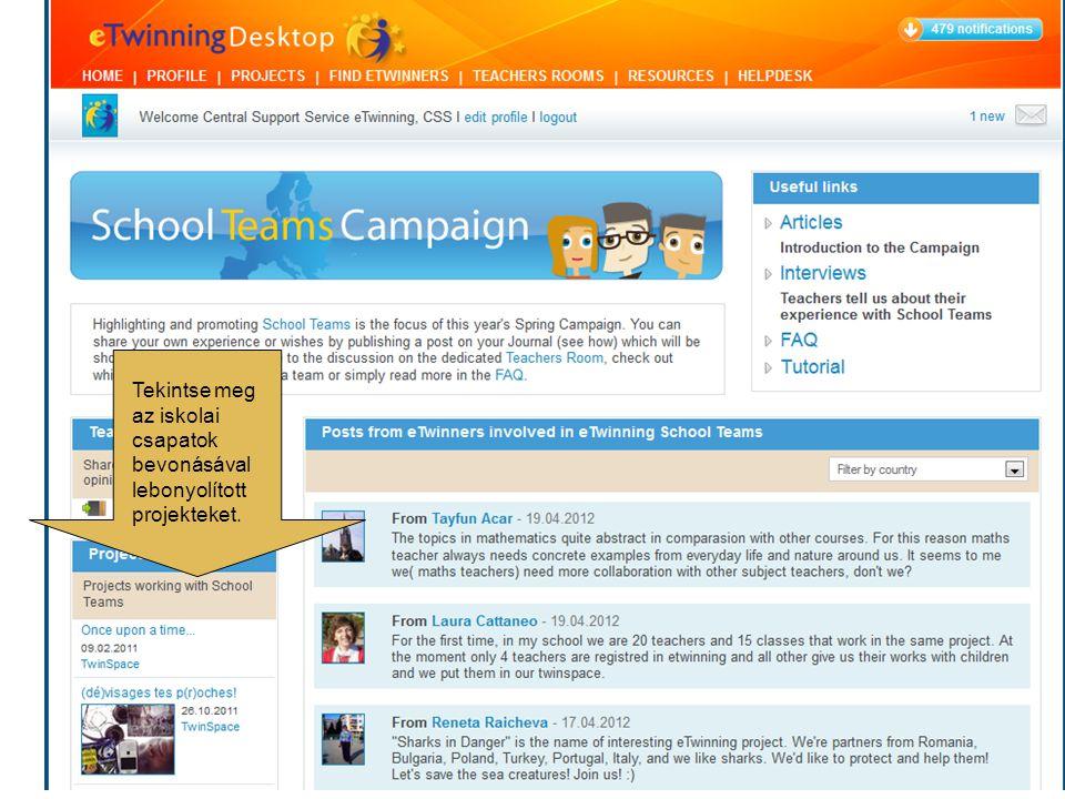 Amennyiben Ön is tagja egy iskolai csapatnak, vagy csak szeretné megosztani gondolatait, ötleteit és javaslatait kollégáival, nyissa meg profilját, és Naplója felületén publikáljon az Iskolai Csapatokkal kapcsolatos bejegyzéseket.
