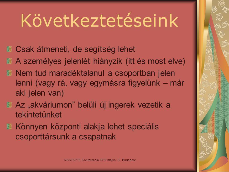 MASZKPTE Konferencia 2012.május 19. Budapest Következtetéseink Csak átmeneti, de segítség lehet A személyes jelenlét hiányzik (itt és most elve) Nem t