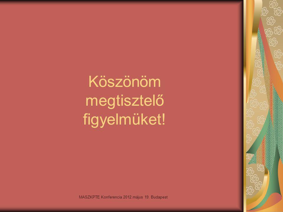 MASZKPTE Konferencia 2012.május 19. Budapest Köszönöm megtisztelő figyelmüket!