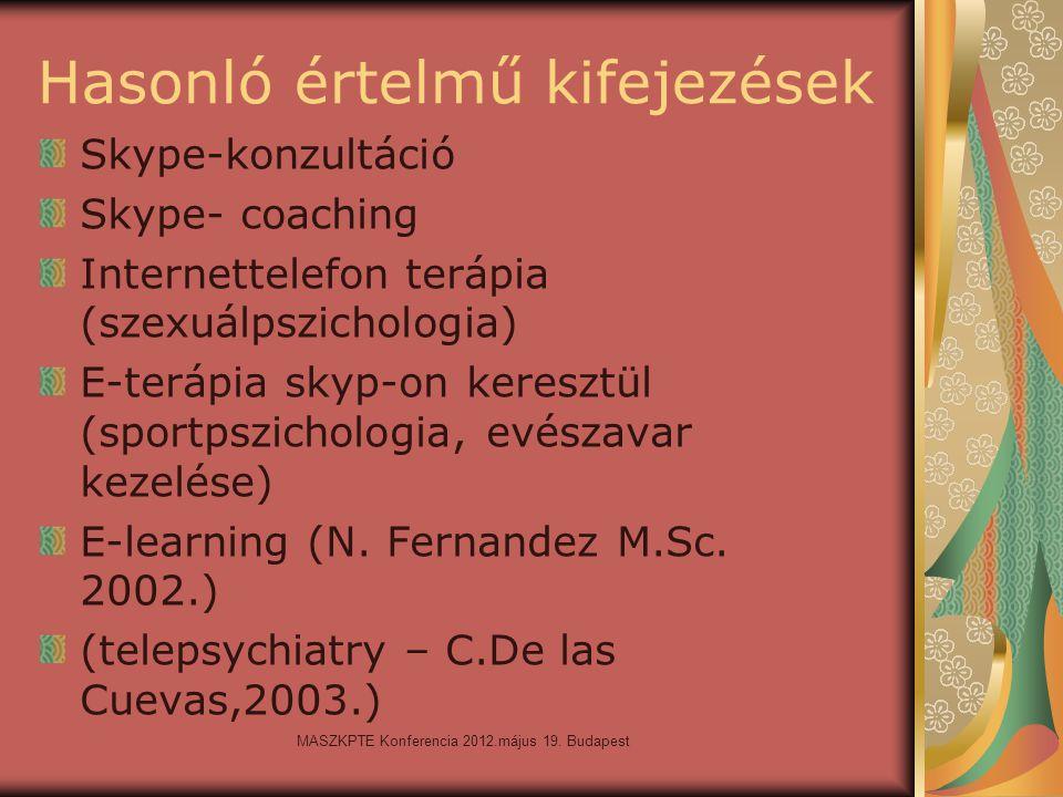 MASZKPTE Konferencia 2012.május 19. Budapest Hasonló értelmű kifejezések Skype-konzultáció Skype- coaching Internettelefon terápia (szexuálpszichologi