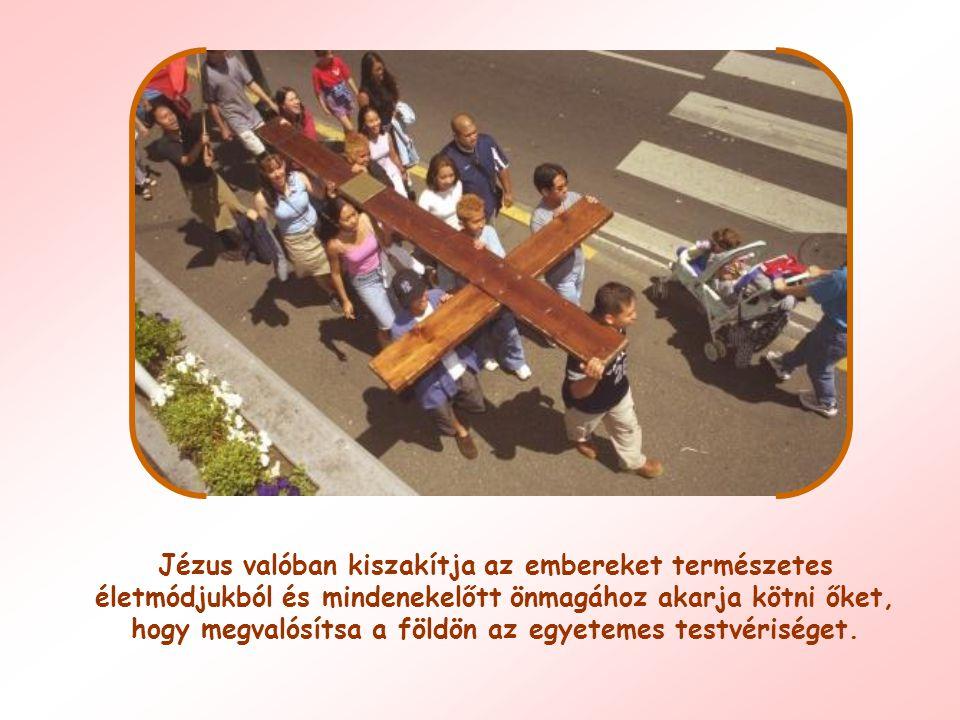 Jézus valóban kiszakítja az embereket természetes életmódjukból és mindenekelőtt önmagához akarja kötni őket, hogy megvalósítsa a földön az egyetemes testvériséget.