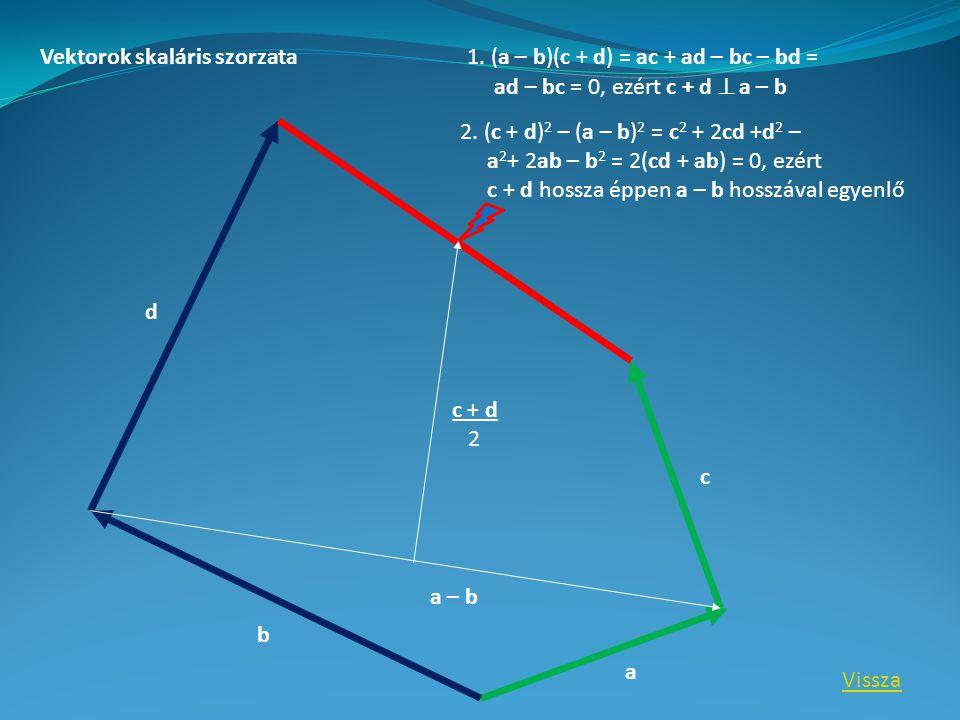 a b c d c + d 2 1. (a – b)(c + d) = ac + ad – bc – bd = ad – bc = 0, ezért c + d  a – b 2.