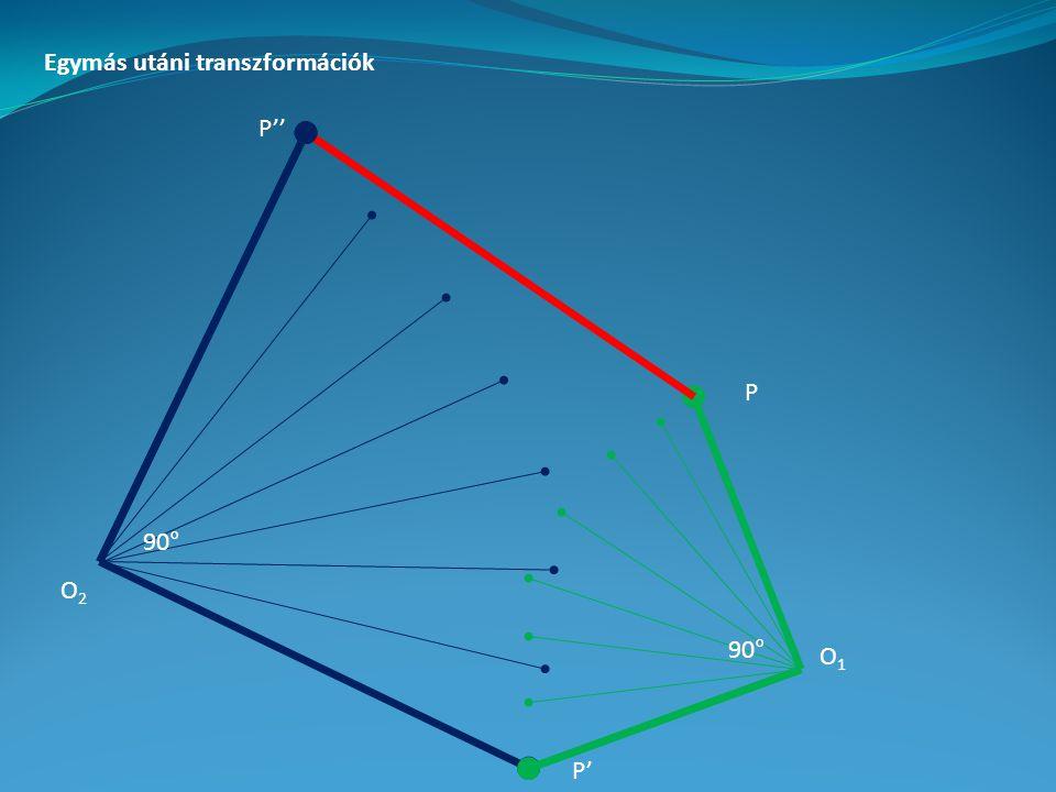 Egymás utáni transzformációk P P' P'' 90° O1O1 O2O2