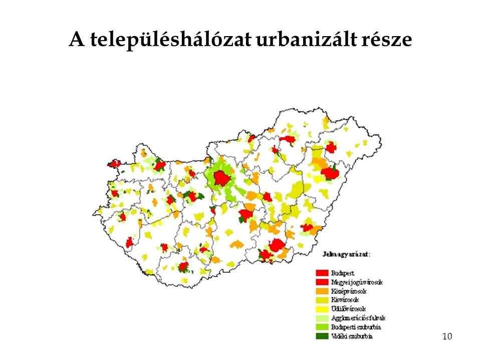 10 A településhálózat urbanizált része