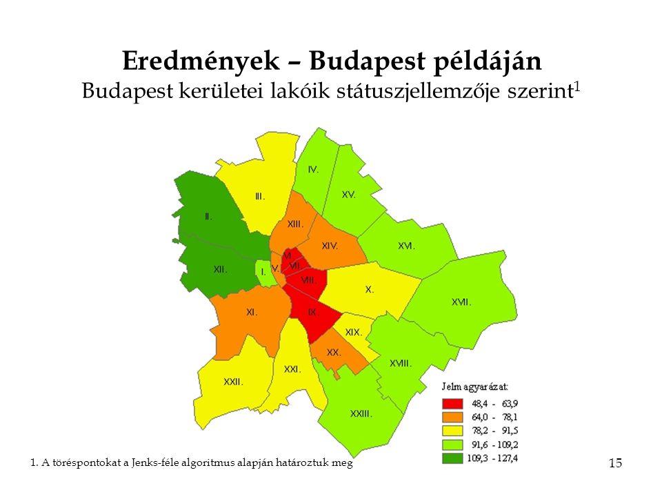 15 Eredmények – Budapest példáján Budapest kerületei lakóik státuszjellemzője szerint 1 1.