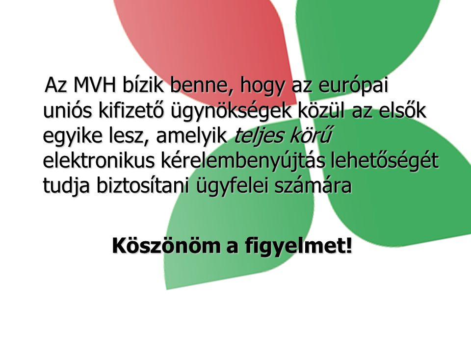 Az MVH bízik benne, hogy az európai uniós kifizető ügynökségek közül az elsők egyike lesz, amelyik teljes körű elektronikus kérelembenyújtás lehetőségét tudja biztosítani ügyfelei számára Az MVH bízik benne, hogy az európai uniós kifizető ügynökségek közül az elsők egyike lesz, amelyik teljes körű elektronikus kérelembenyújtás lehetőségét tudja biztosítani ügyfelei számára Köszönöm a figyelmet!