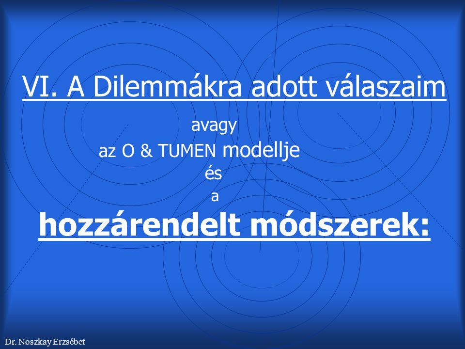 VI. A Dilemmákra adott válaszaim avagy az O & TUMEN modellje és a hozzárendelt módszerek: Dr. Noszkay Erzsébet
