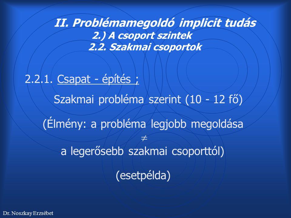 II. Problémamegoldó implicit tudás 2.) A csoport szintek 2.2. Szakmai csoportok 2.2.1. Csapat - építés ; Szakmai probléma szerint (10 - 12 fő) (Élmény