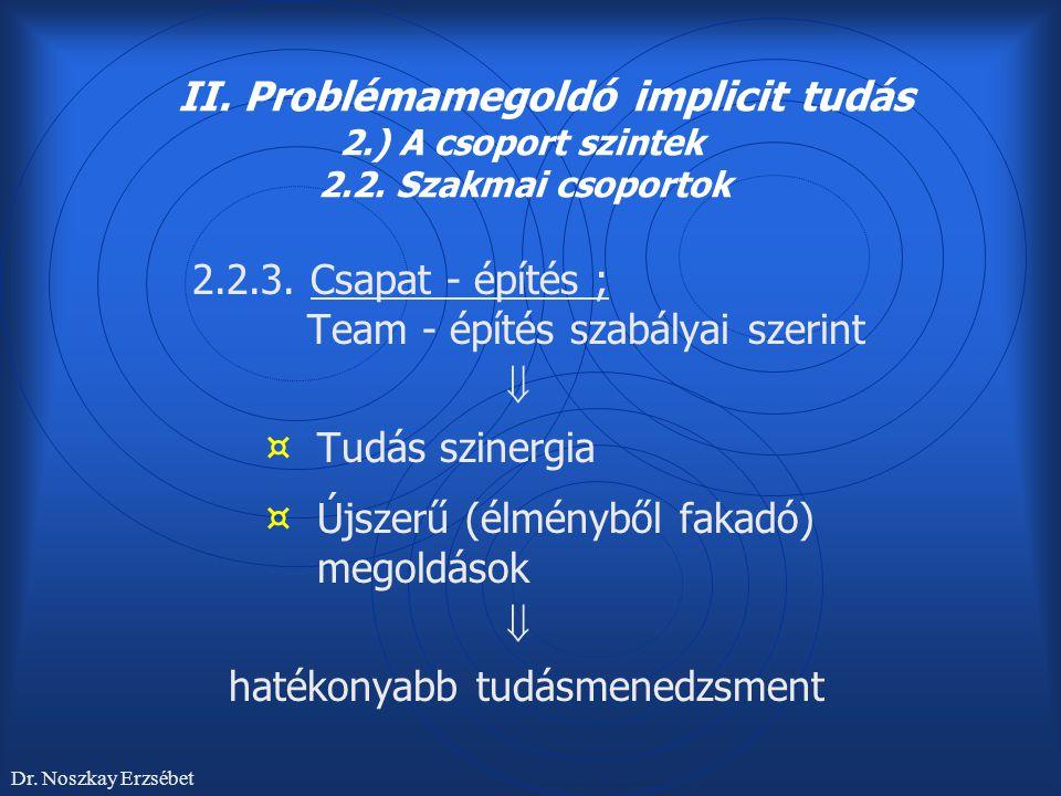 II. Problémamegoldó implicit tudás 2.) A csoport szintek 2.2. Szakmai csoportok 2.2.3. Csapat - építés ; Team - építés szabályai szerint  ¤ Tudás szi