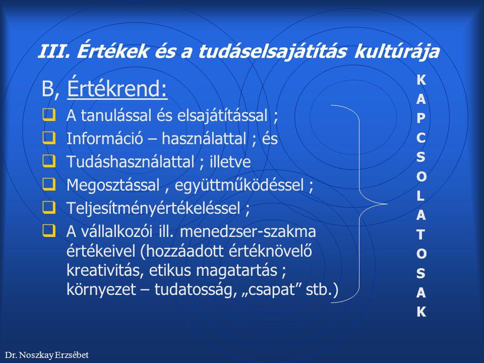 III. Értékek és a tudáselsajátítás kultúrája B, Értékrend:  A tanulással és elsajátítással ;  Információ – használattal ; és  Tudáshasználattal ; i