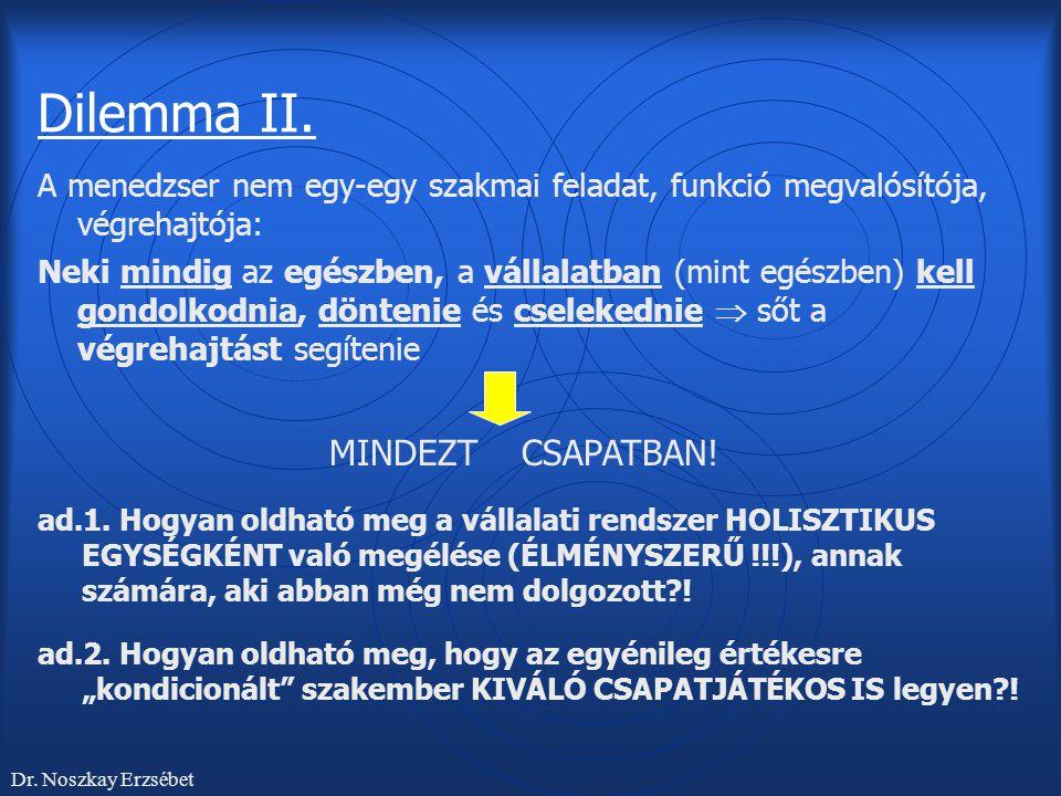 Dilemma II. A menedzser nem egy-egy szakmai feladat, funkció megvalósítója, végrehajtója: Neki mindig az egészben, a vállalatban (mint egészben) kell