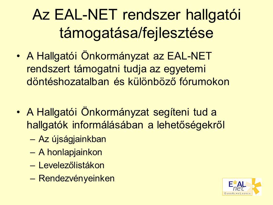 Az EAL-NET rendszer hallgatói támogatása/fejlesztése A Hallgatói Önkormányzat az EAL-NET rendszert támogatni tudja az egyetemi döntéshozatalban és különböző fórumokon A Hallgatói Önkormányzat segíteni tud a hallgatók informálásában a lehetőségekről –Az újságjainkban –A honlapjainkon –Levelezőlistákon –Rendezvényeinken