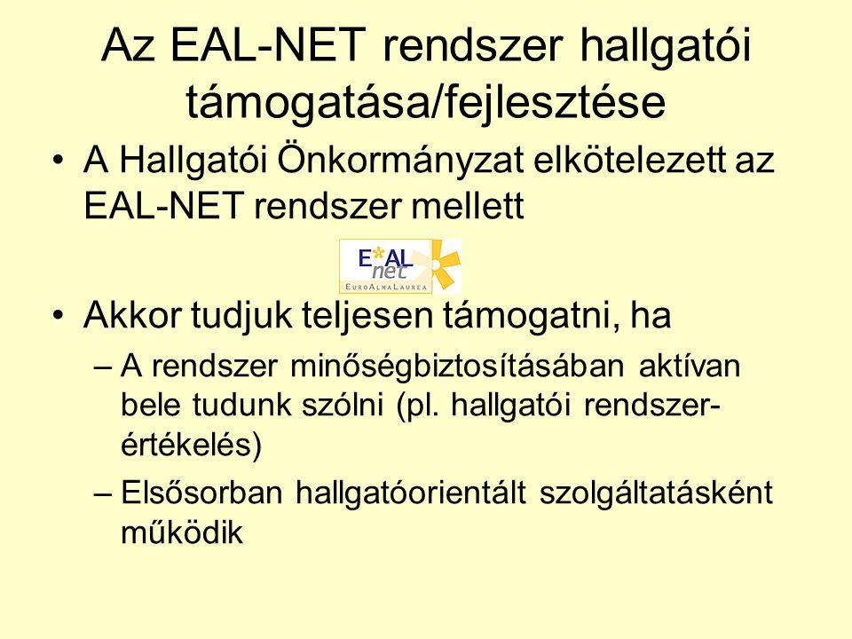Az EAL-NET rendszer hallgatói támogatása/fejlesztése A Hallgatói Önkormányzat elkötelezett az EAL-NET rendszer mellett Akkor tudjuk teljesen támogatni, ha –A rendszer minőségbiztosításában aktívan bele tudunk szólni (pl.