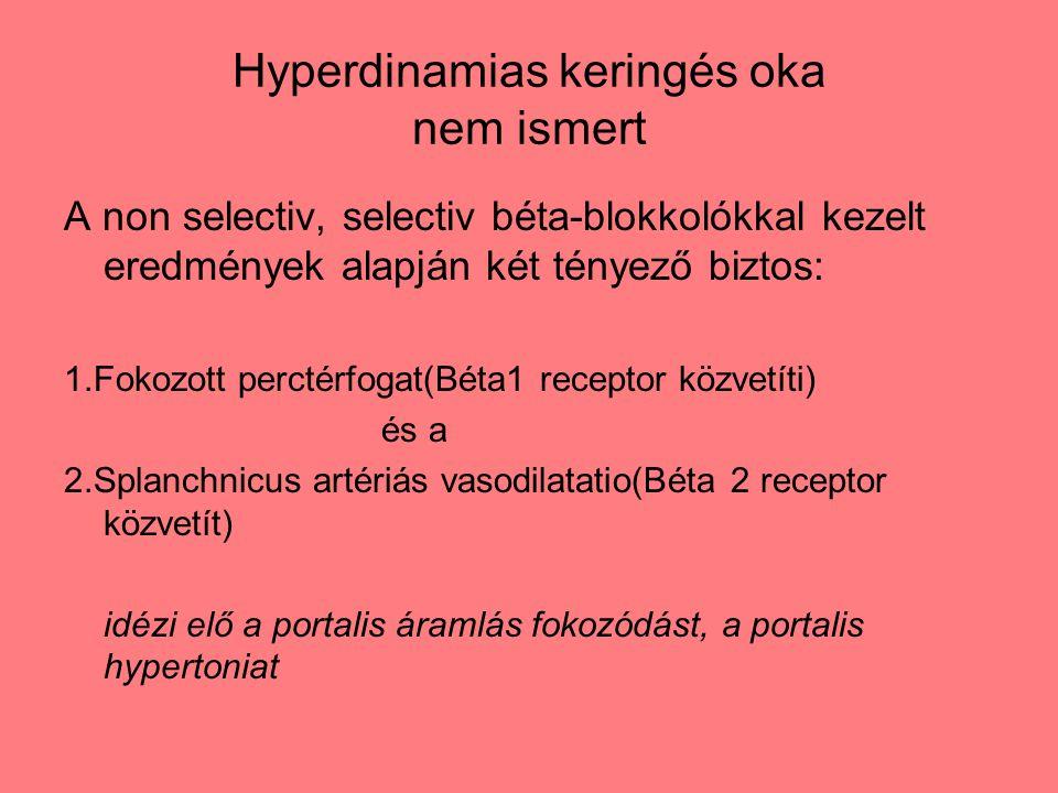 Hyperdinamias keringés oka nem ismert A non selectiv, selectiv béta-blokkolókkal kezelt eredmények alapján két tényező biztos: 1.Fokozott perctérfogat(Béta1 receptor közvetíti) és a 2.Splanchnicus artériás vasodilatatio(Béta 2 receptor közvetít) idézi elő a portalis áramlás fokozódást, a portalis hypertoniat
