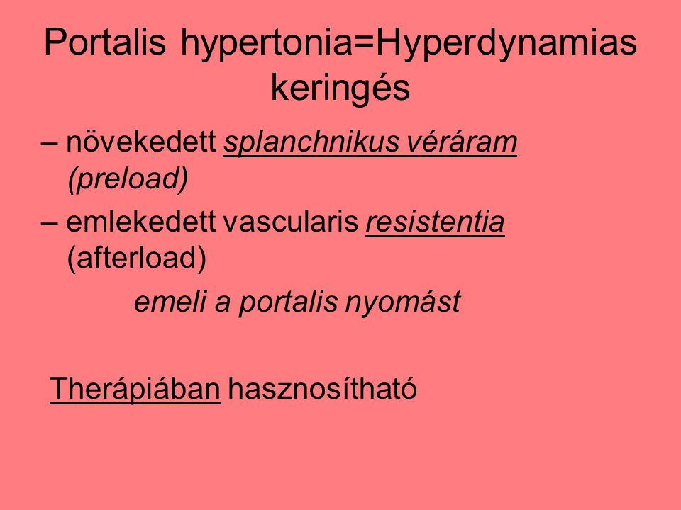 Portalis hypertonia=Hyperdynamias keringés – növekedett splanchnikus véráram (preload) – emlekedett vascularis resistentia (afterload) emeli a portalis nyomást Therápiában hasznosítható