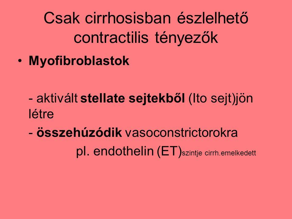 Csak cirrhosisban észlelhető contractilis tényezők Myofibroblastok - aktivált stellate sejtekből (Ito sejt)jön létre - összehúzódik vasoconstrictorokra pl.
