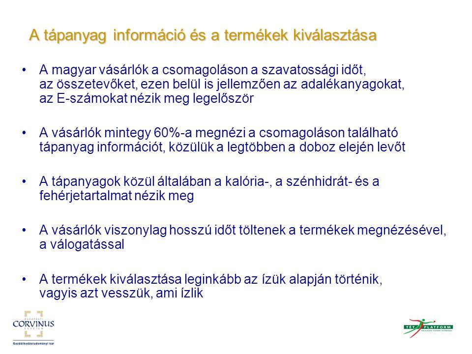 A tápanyag információ és a termékek kiválasztása A magyar vásárlók a csomagoláson a szavatossági időt, az összetevőket, ezen belül is jellemzően az ad