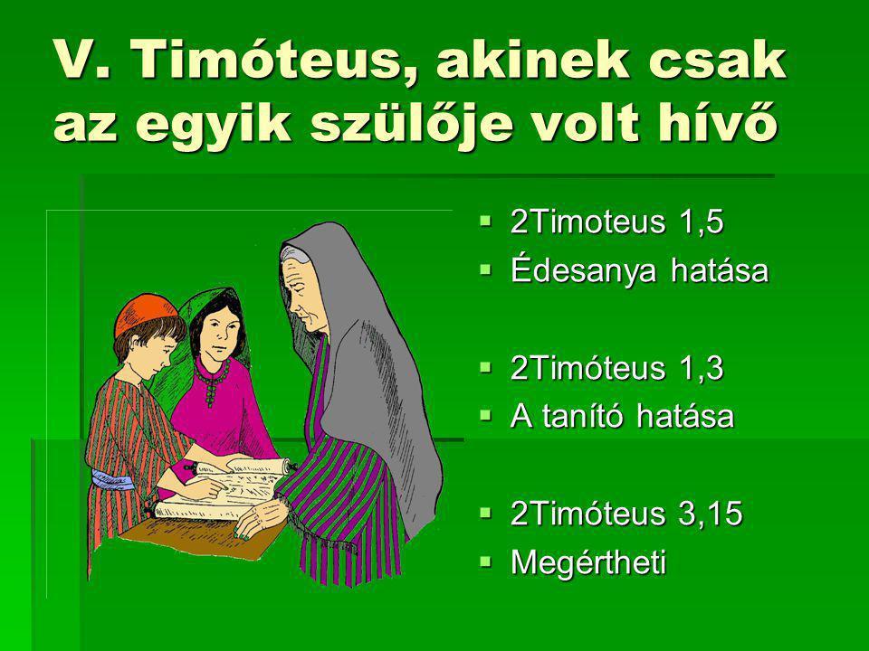 V. Timóteus, akinek csak az egyik szülője volt hívő  2Timoteus 1,5  Édesanya hatása  2Timóteus 1,3  A tanító hatása  2Timóteus 3,15  Megértheti