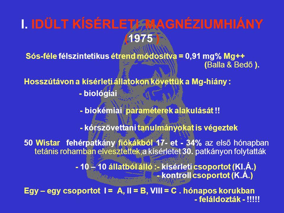 I. IDÜLT KÍSÉRLETI MAGNÉZIUMHIÁNY (1975 ) Sós-féle félszintetikus étrend módosítva = 0,91 mg% Mg++ (Balla & Bedő ). Hosszútávon a kísérleti állatokon