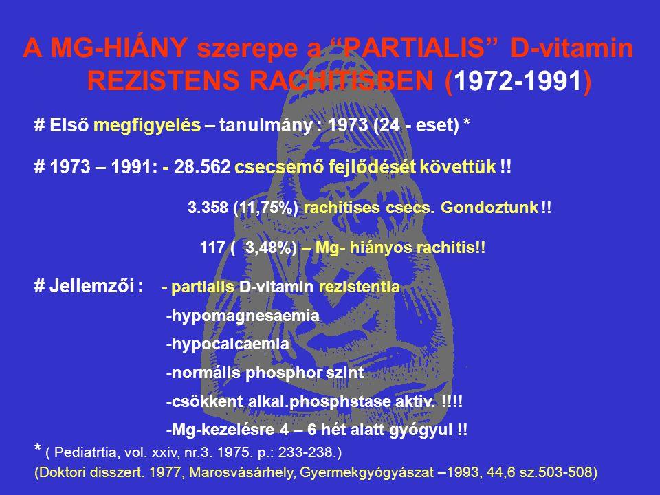 A MG-HIÁNY szerepe a PARTIALIS D-vitamin REZISTENS RACHITISBEN (1972-1991) # Első megfigyelés – tanulmány : 1973 (24 - eset) * # 1973 – 1991: - 28.562 csecsemő fejlődését követtük !.