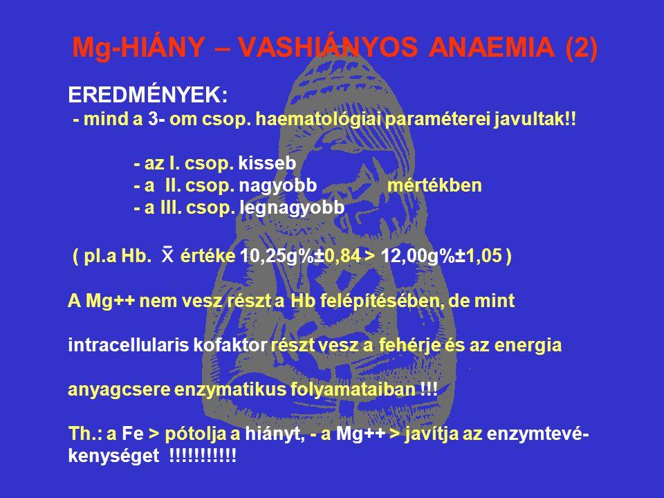 Mg-HIÁNY – VASHIÁNYOS ANAEMIA (2) EREDMÉNYEK: - mind a 3- om csop. haematológiai paraméterei javultak!! - az I. csop. kisseb - a II. csop. nagyobb mér