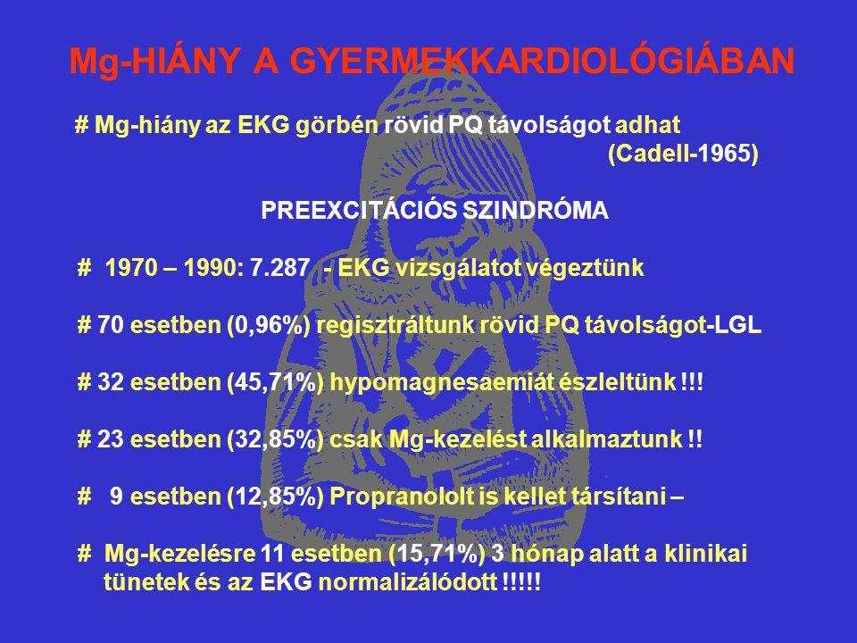 Mg-HIÁNY A GYERMEKKARDIOLÓGIÁBAN # Mg-hiány az EKG görbén rövid PQ távolságot adhat (Cadell-1965) PREEXCITÁCIÓS SZINDRÓMA # 1970 – 1990: 7.287 - EKG vizsgálatot végeztünk # 70 esetben (0,96%) regisztráltunk rövid PQ távolságot-LGL # 32 esetben (45,71%) hypomagnesaemiát észleltünk !!.