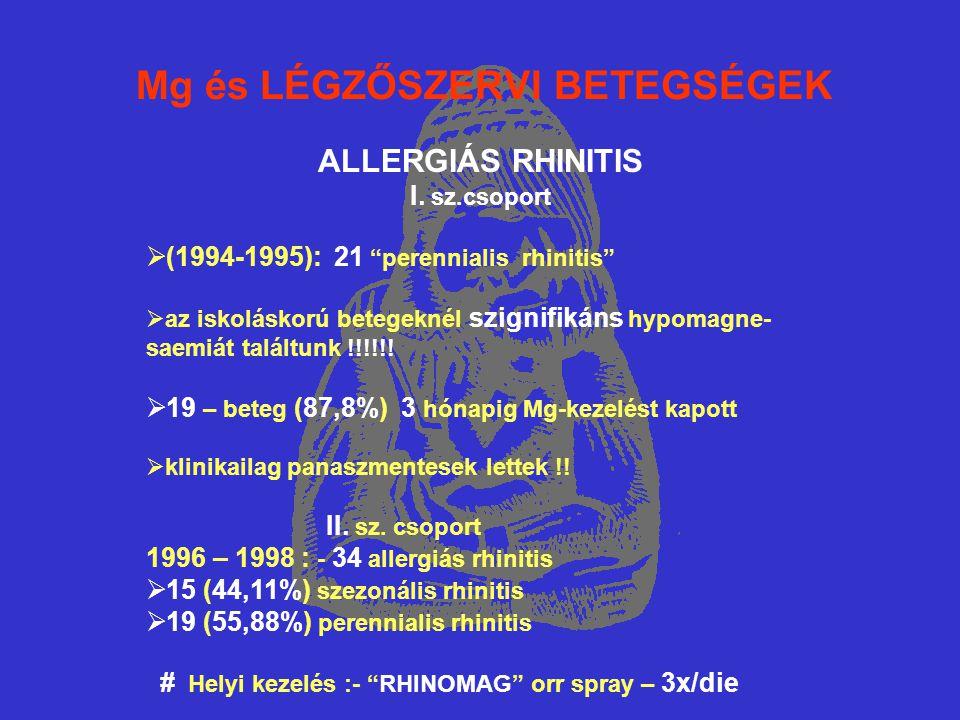 """Mg és LÉGZŐSZERVI BETEGSÉGEK ALLERGIÁS RHINITIS I. sz.csoport  (1994-1995): 21 """"perennialis rhinitis""""  az iskoláskorú betegeknél szignifikáns hypoma"""