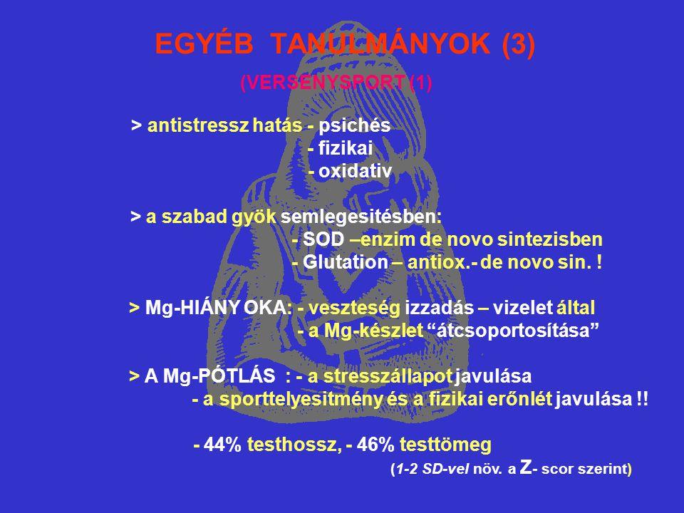 EGYÉB TANULMÁNYOK (3) > antistressz hatás - psichés - fizikai - oxidativ > a szabad gyök semlegesitésben: - SOD –enzim de novo sintezisben - Glutation – antiox.- de novo sin.