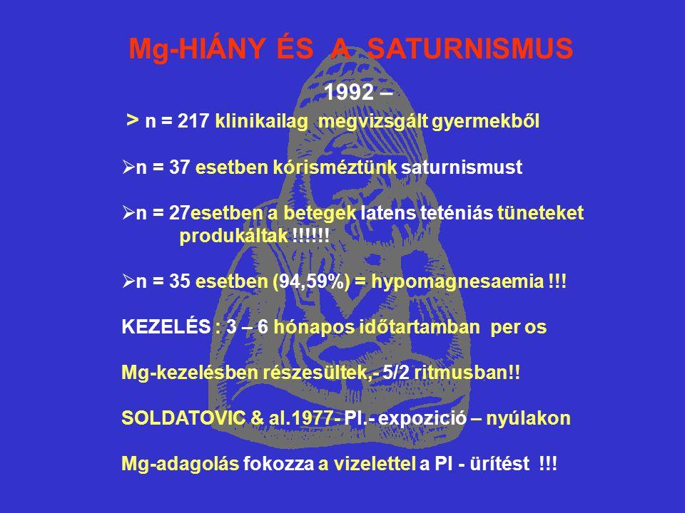 Mg-HIÁNY ÉS A SATURNISMUS 1992 – > n = 217 klinikailag megvizsgált gyermekből  n = 37 esetben kórisméztünk saturnismust  n = 27esetben a betegek latens teténiás tüneteket produkáltak !!!!!.