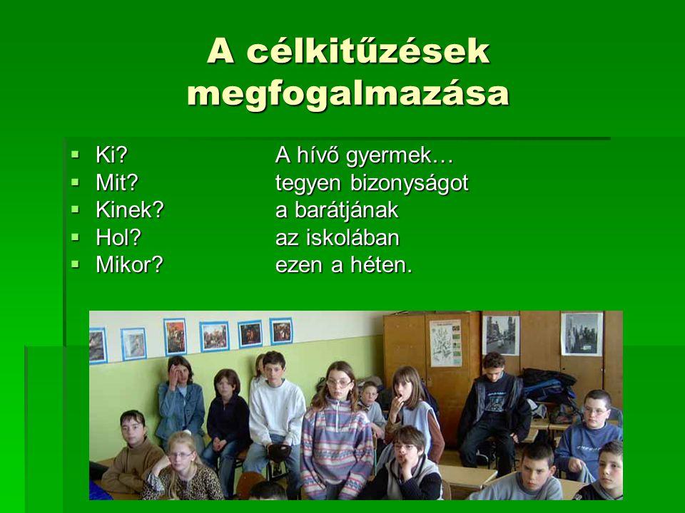 A célkitűzések megfogalmazása  Ki? A hívő gyermek…  Mit? tegyen bizonyságot  Kinek?a barátjának  Hol?az iskolában  Mikor?ezen a héten.