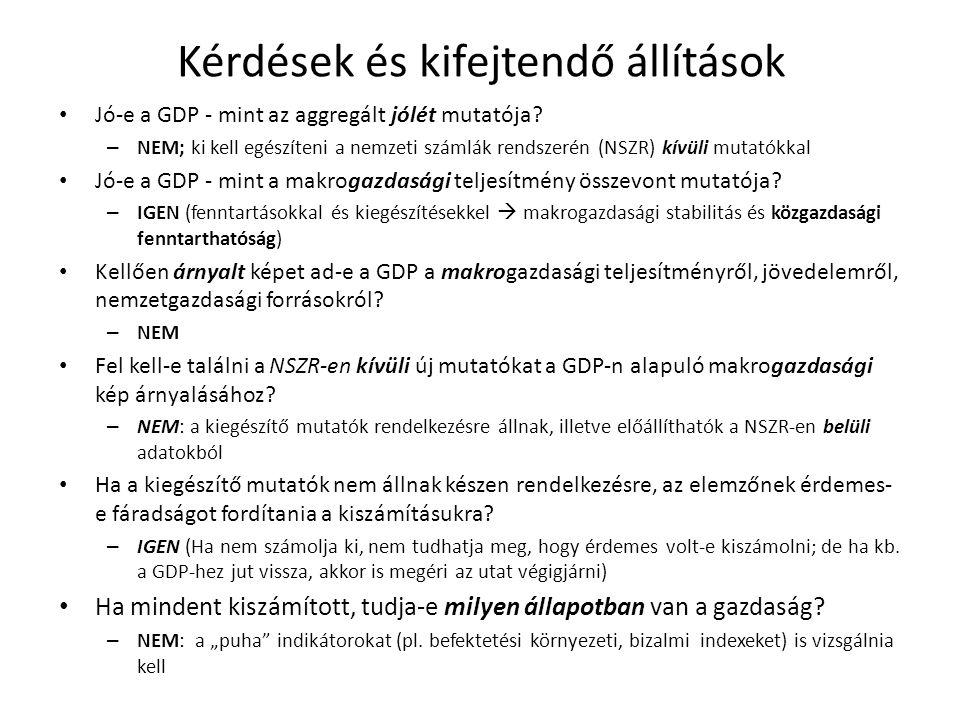 Kérdések és kifejtendő állítások Jó-e a GDP - mint az aggregált jólét mutatója? – NEM; ki kell egészíteni a nemzeti számlák rendszerén (NSZR) kívüli m