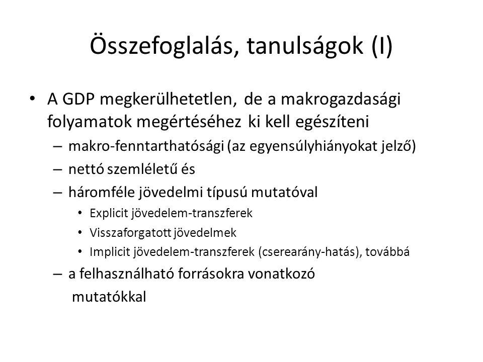 Összefoglalás, tanulságok (I) A GDP megkerülhetetlen, de a makrogazdasági folyamatok megértéséhez ki kell egészíteni – makro-fenntarthatósági (az egye