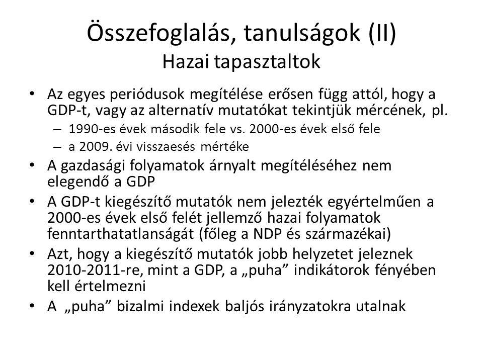 Összefoglalás, tanulságok (II) Hazai tapasztaltok Az egyes periódusok megítélése erősen függ attól, hogy a GDP-t, vagy az alternatív mutatókat tekintj
