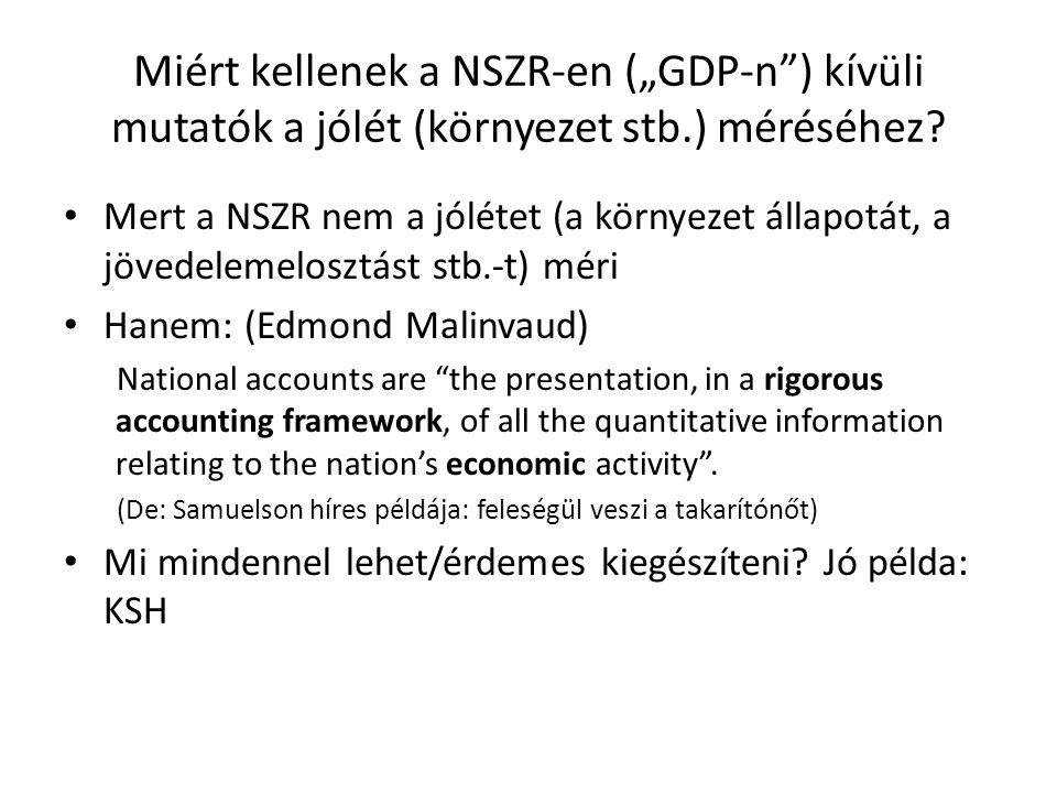 """Miért kellenek a NSZR-en (""""GDP-n"""") kívüli mutatók a jólét (környezet stb.) méréséhez? Mert a NSZR nem a jólétet (a környezet állapotát, a jövedelemelo"""
