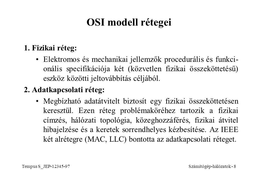 Tempus S_JEP-12345-97Számítógép-hálózatok - 8 OSI modell rétegei 1.