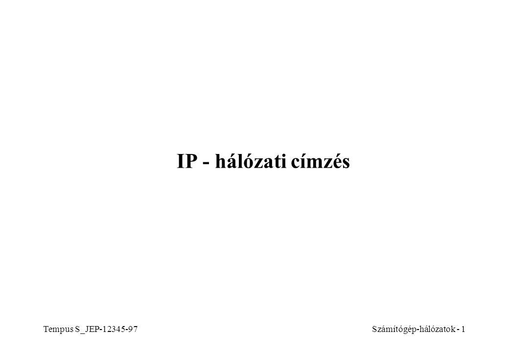 Tempus S_JEP-12345-97Számítógép-hálózatok - 1 IP - hálózati címzés