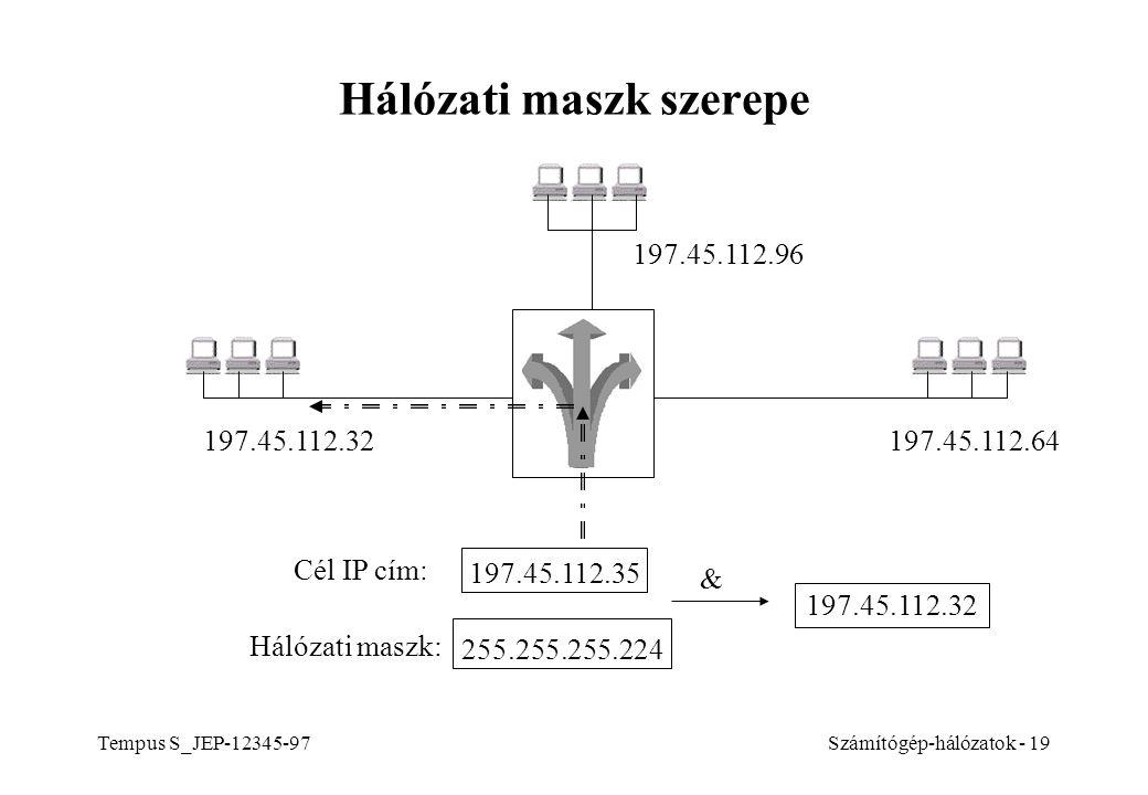 Tempus S_JEP-12345-97Számítógép-hálózatok - 19 Hálózati maszk szerepe 197.45.112.64 197.45.112.96 197.45.112.32 197.45.112.35 Cél IP cím: & 197.45.112