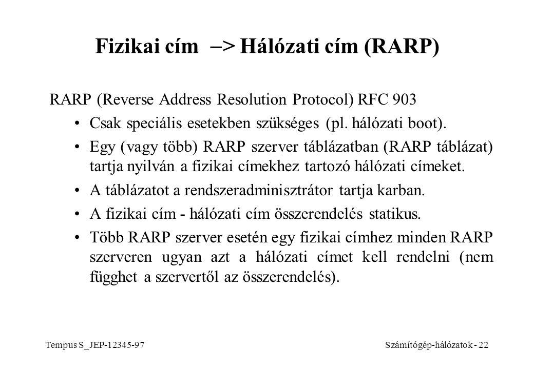 Tempus S_JEP-12345-97Számítógép-hálózatok - 22 Fizikai cím  > Hálózati cím (RARP) RARP (Reverse Address Resolution Protocol) RFC 903 Csak speciális e