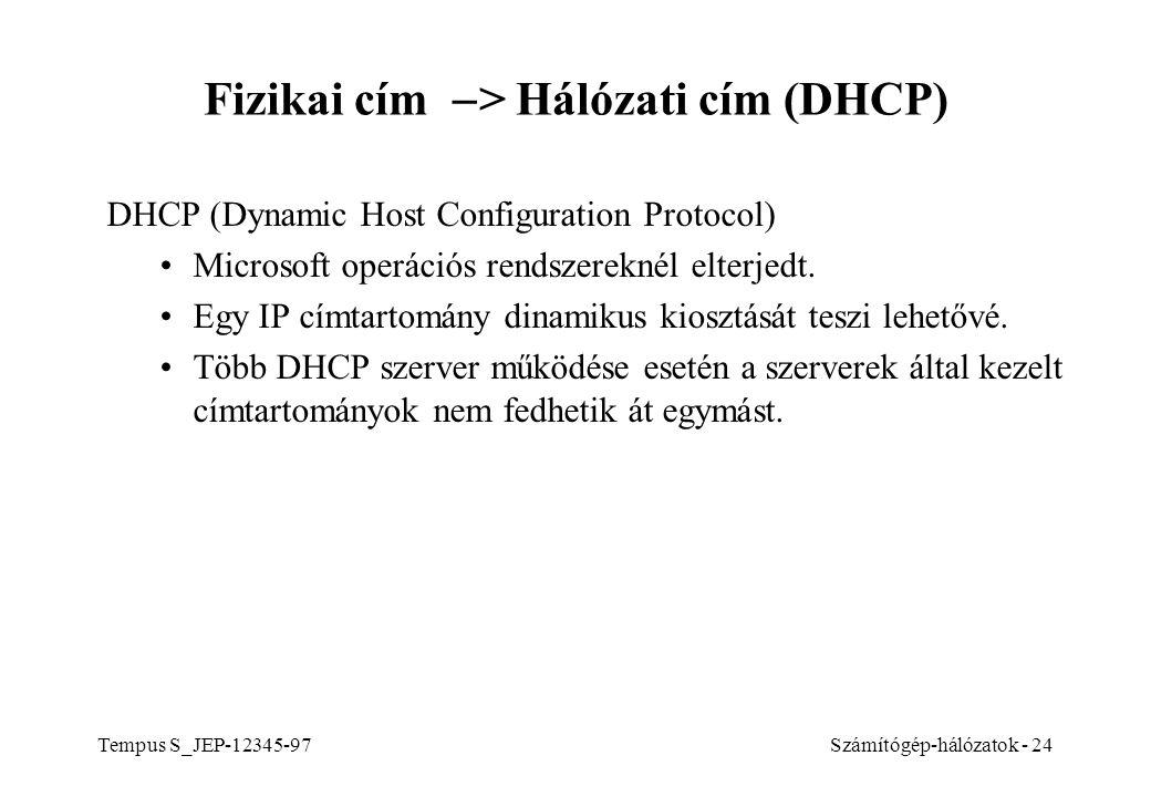 Tempus S_JEP-12345-97Számítógép-hálózatok - 24 Fizikai cím  > Hálózati cím (DHCP) DHCP (Dynamic Host Configuration Protocol) Microsoft operációs rend