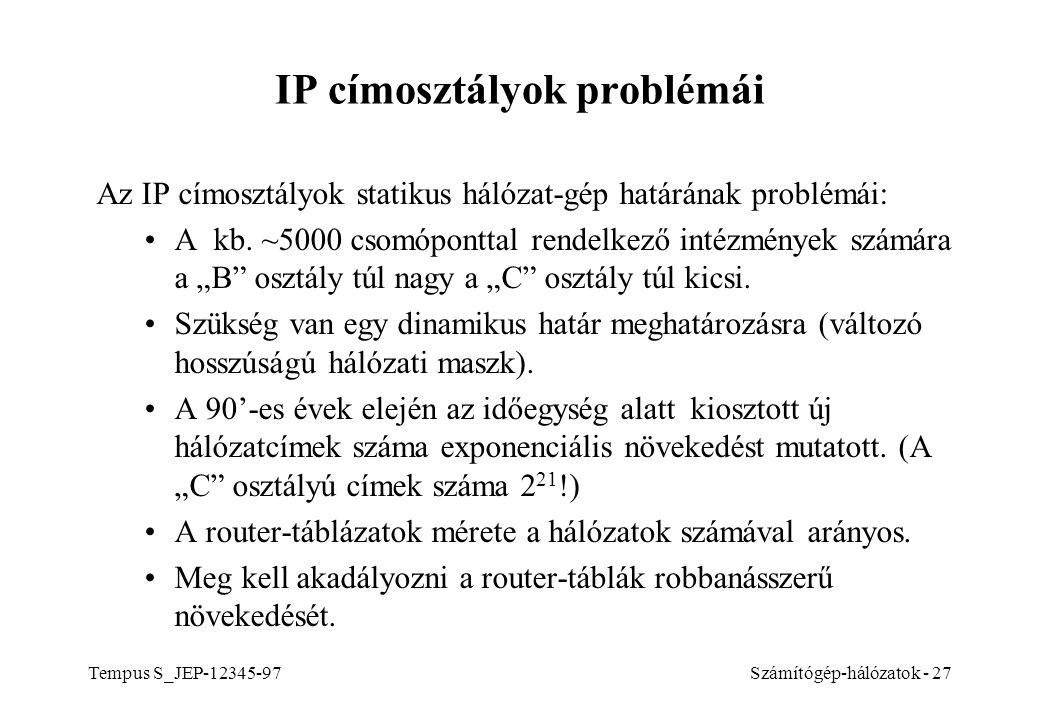 Tempus S_JEP-12345-97Számítógép-hálózatok - 27 IP címosztályok problémái Az IP címosztályok statikus hálózat-gép határának problémái: A kb. ~5000 csom