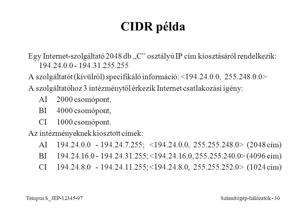 """Tempus S_JEP-12345-97Számítógép-hálózatok - 30 CIDR példa Egy Internet-szolgáltató 2048 db """"C"""" osztályú IP cím kiosztásáról rendelkezik: 194.24.0.0 -"""