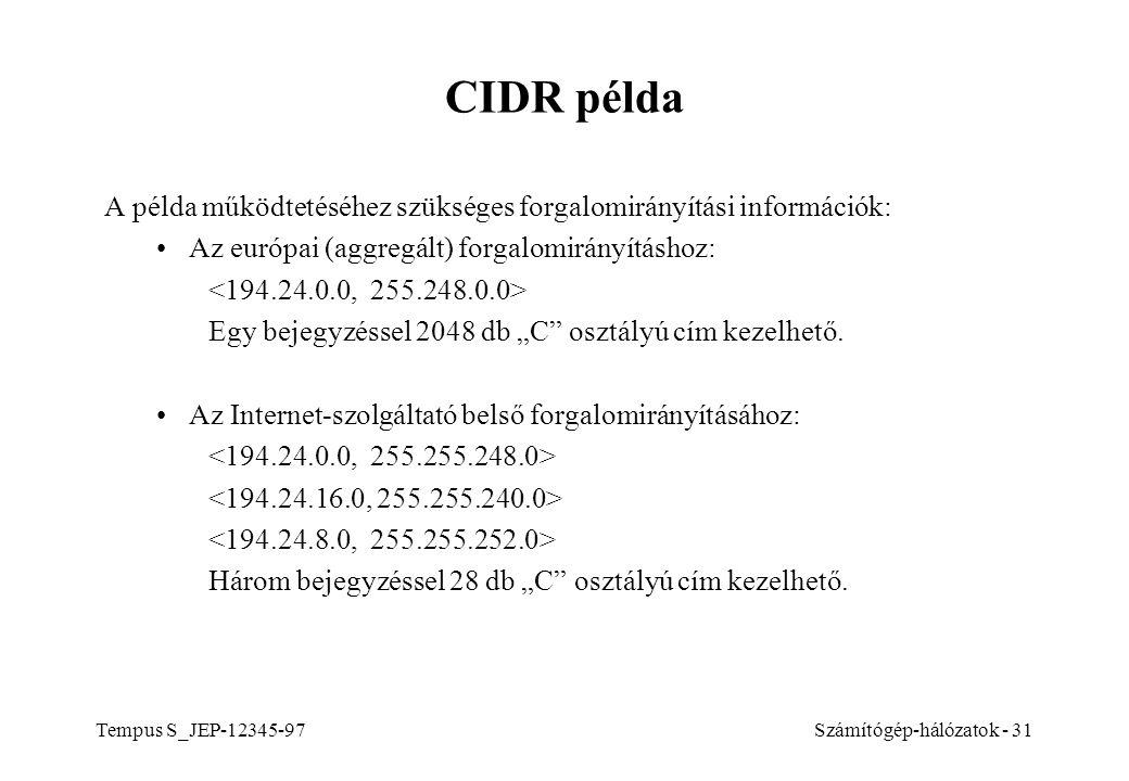 Tempus S_JEP-12345-97Számítógép-hálózatok - 31 CIDR példa A példa működtetéséhez szükséges forgalomirányítási információk: Az európai (aggregált) forg