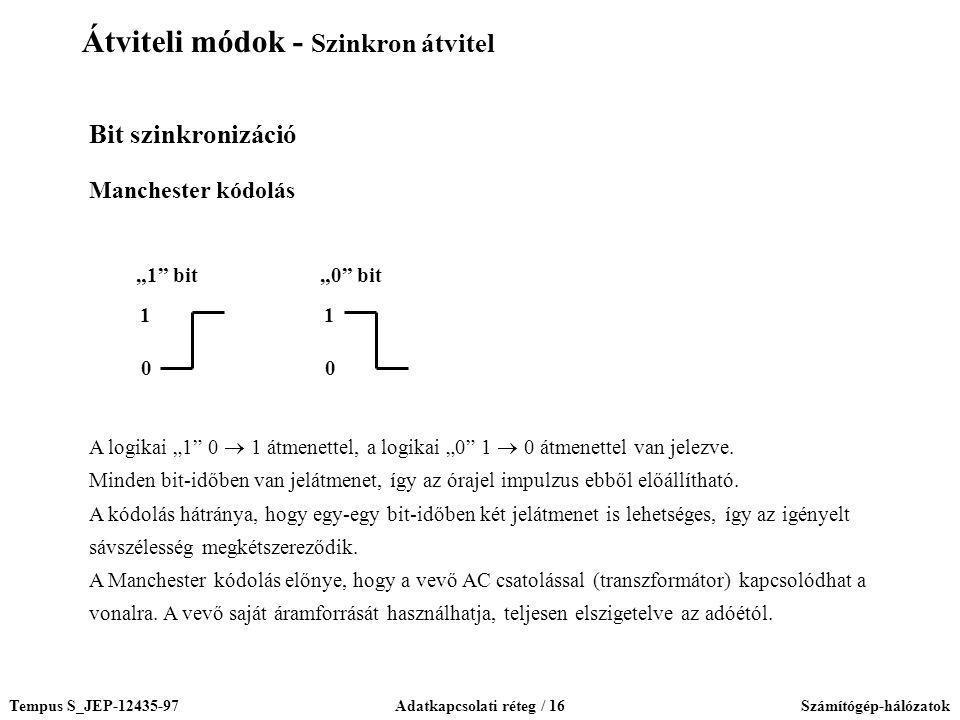 """Tempus S_JEP-12435-97Adatkapcsolati réteg / 16Számítógép-hálózatok Bit szinkronizáció Manchester kódolás 0 1 """"1"""" bit 0 1 """"0"""" bit A logikai """"1"""" 0  1 á"""