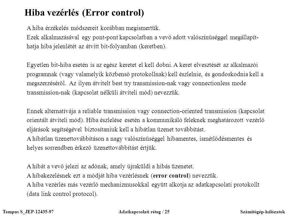 Tempus S_JEP-12435-97Adatkapcsolati réteg / 25Számítógép-hálózatok A hiba érzékelés módszereit korábban megismertük. Ezek alkalmazásával egy pont-pont