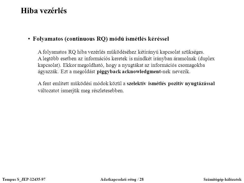 Tempus S_JEP-12435-97Adatkapcsolati réteg / 28Számítógép-hálózatok Folyamatos (continuous RQ) módú ismétlés kéréssel A folyamatos RQ hiba vezérlés műk