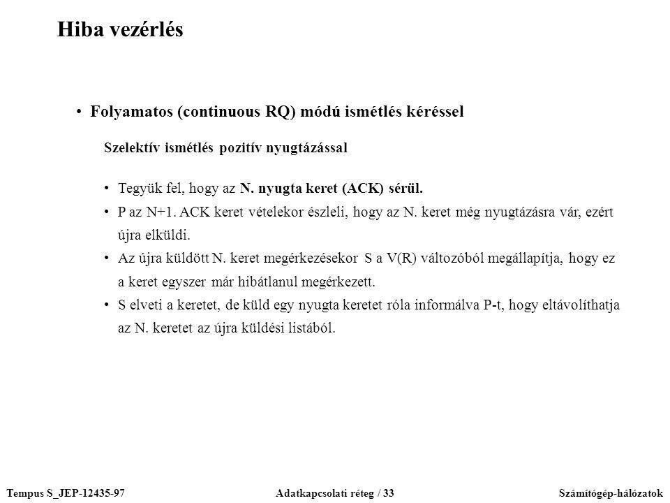 Tempus S_JEP-12435-97Adatkapcsolati réteg / 33Számítógép-hálózatok Folyamatos (continuous RQ) módú ismétlés kéréssel Szelektív ismétlés pozitív nyugtá