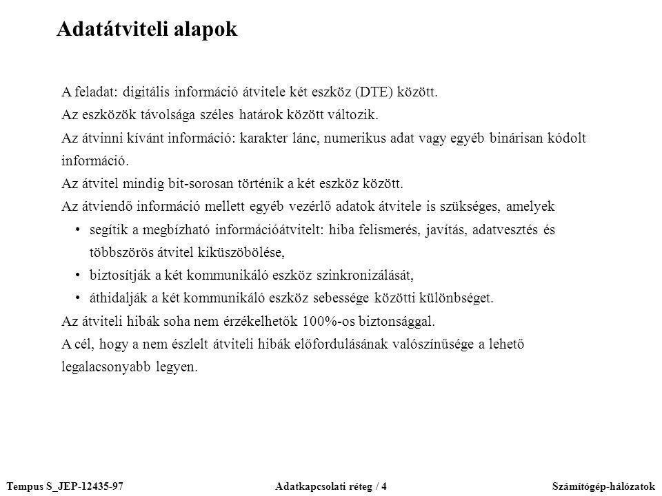 Tempus S_JEP-12435-97Adatkapcsolati réteg / 4Számítógép-hálózatok A feladat: digitális információ átvitele két eszköz (DTE) között. Az eszközök távols