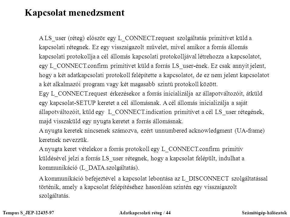 Tempus S_JEP-12435-97Adatkapcsolati réteg / 44Számítógép-hálózatok A LS_user (réteg) először egy L_CONNECT.request szolgáltatás primitívet küld a kapc