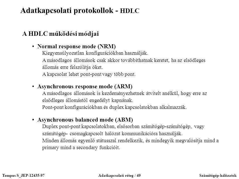 Tempus S_JEP-12435-97Adatkapcsolati réteg / 49Számítógép-hálózatok A HDLC működési módjai Normal response mode (NRM) Kiegyensúlyozatlan konfigurációkb