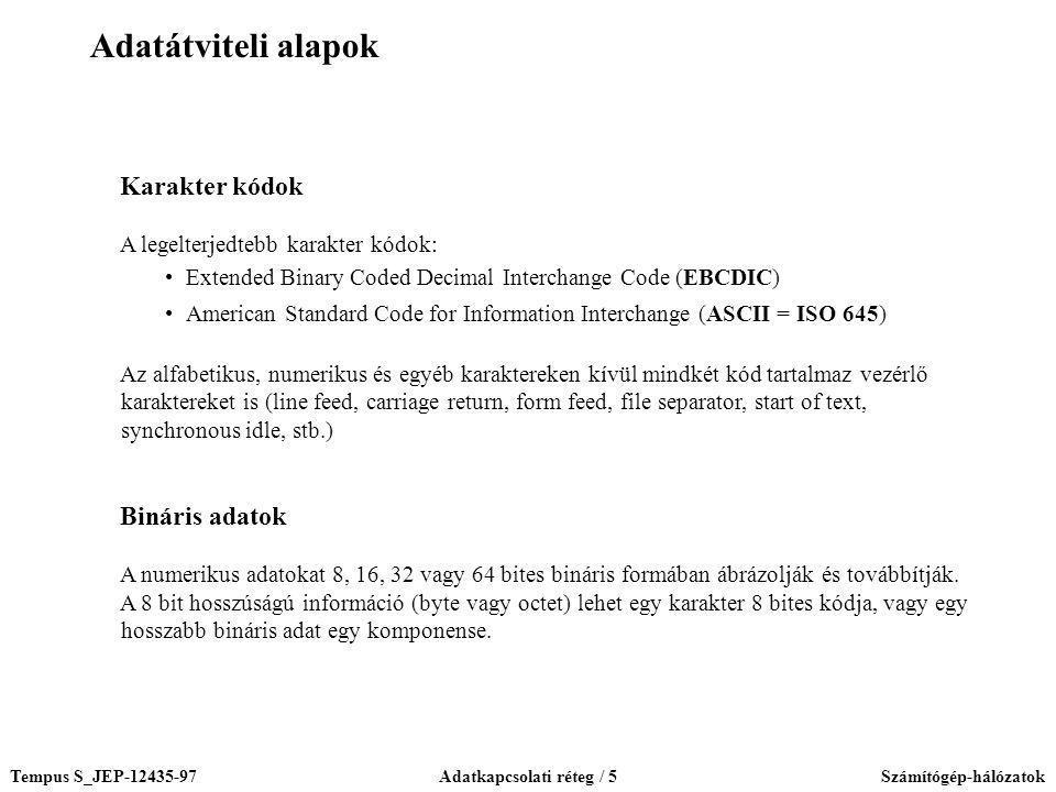 Tempus S_JEP-12435-97Adatkapcsolati réteg / 5Számítógép-hálózatok Karakter kódok A legelterjedtebb karakter kódok: Extended Binary Coded Decimal Inter